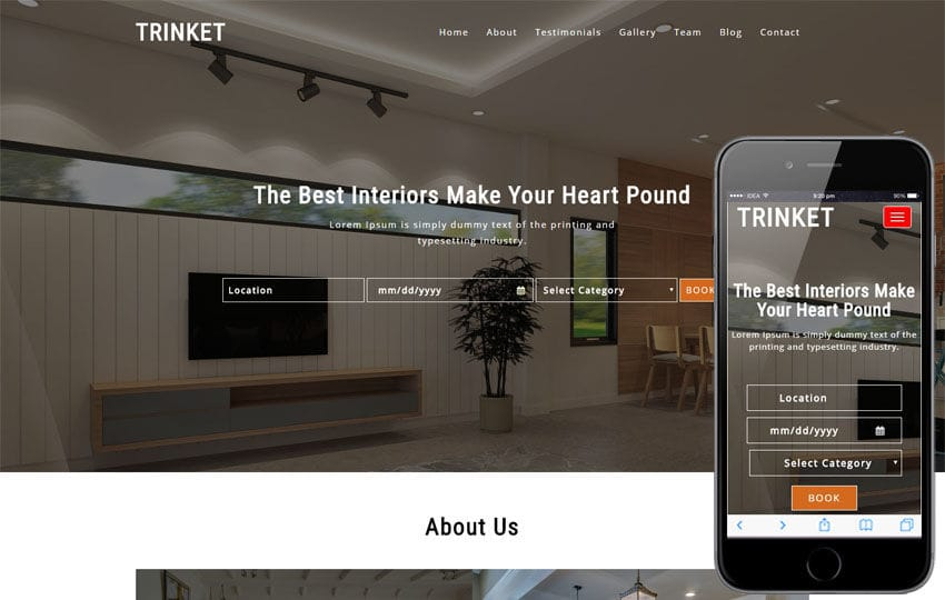 Trinket Interior Category Bootstrap Responsive Web Template Mobile website template Free