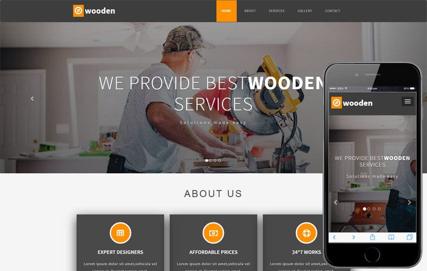 Wooden Industrial Category Bootstrap Responsive Web Template