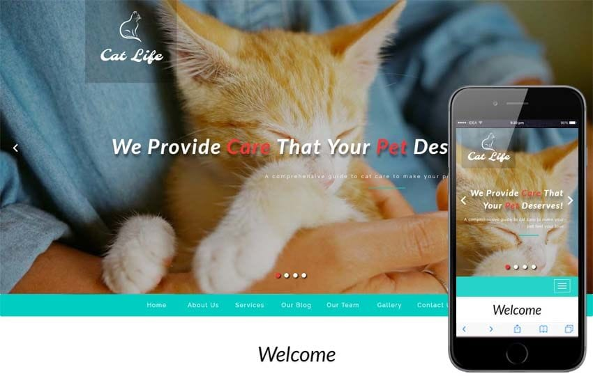 Cat Life – Animals Category Bootstrap Responsive Web Template Mobile website template Free