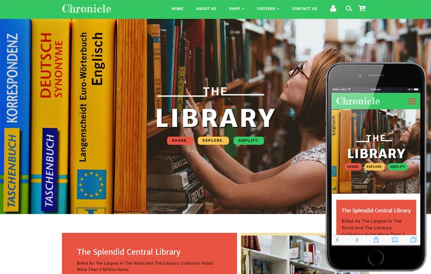 Chronicle Education Category Bootstrap Responsive Web Template Mobile website template Free