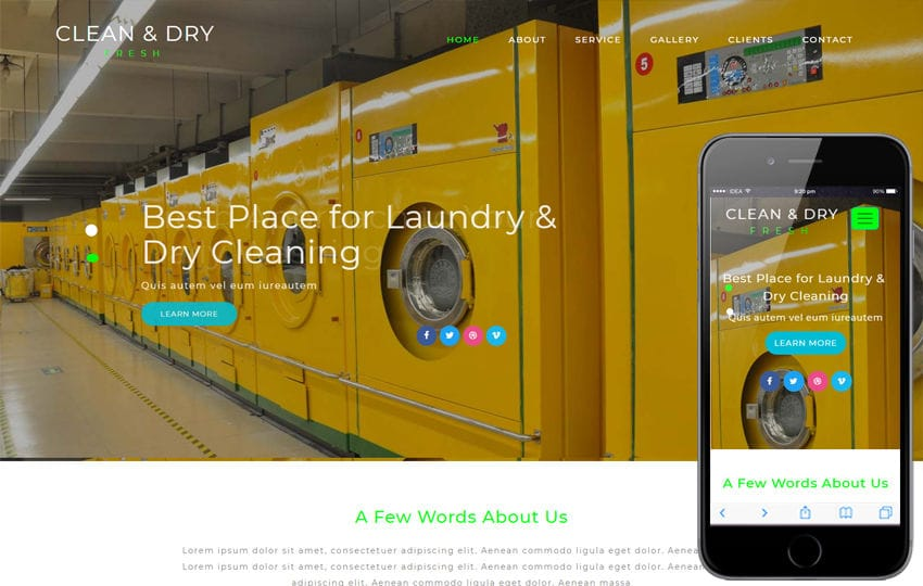 Clean and Dry Laundry Flat Bootstrap Responsive Web Template Mobile website template Free