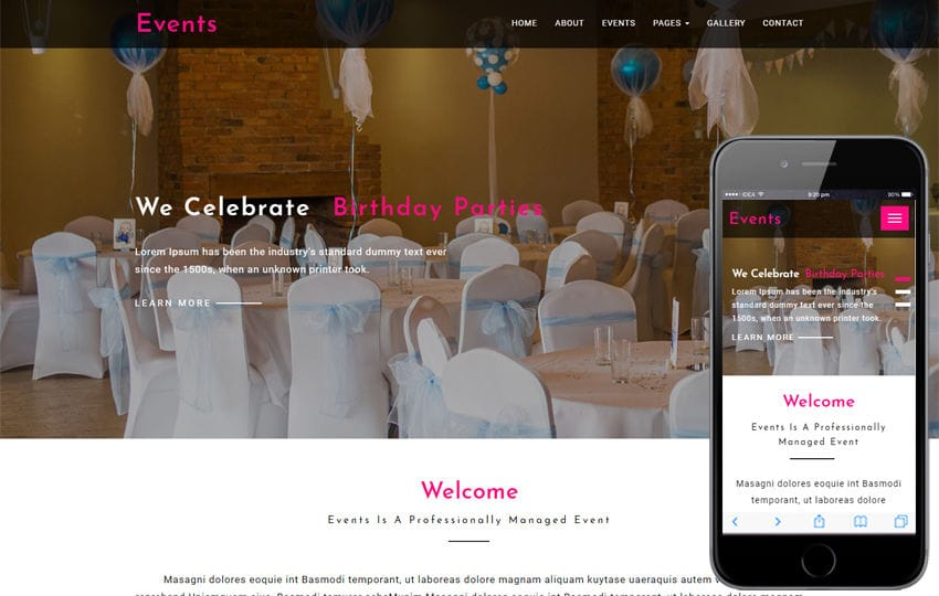 Events – Wedding Category Bootstrap Responsive Web Template Mobile website template Free