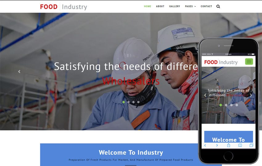 Food Industry Industrial Category Bootstrap Responsive Web Template Mobile website template Free