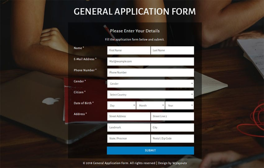 General Application Form Flat Responsive Widget Template