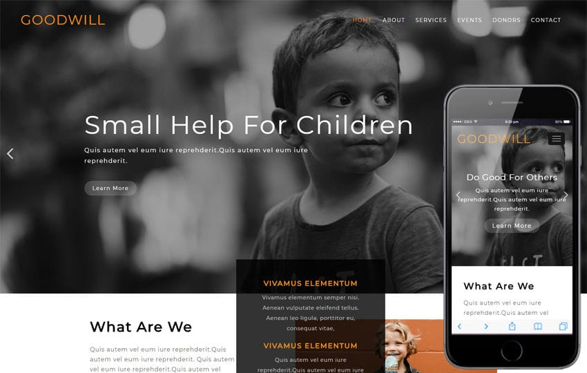 Goodwill Society Category Flat Bootstrap Responsive Web Template Mobile website template Free