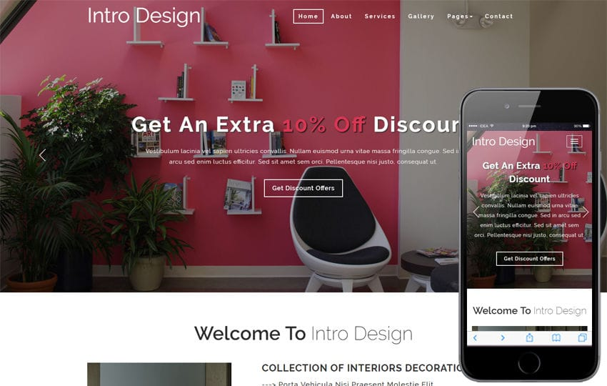 Intro Design Interior Category Bootstrap Responsive Web Template Mobile website template Free