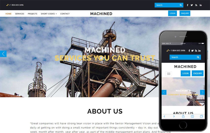 Machined Industrial Category Bootstrap Responsive Web Template Mobile website template Free