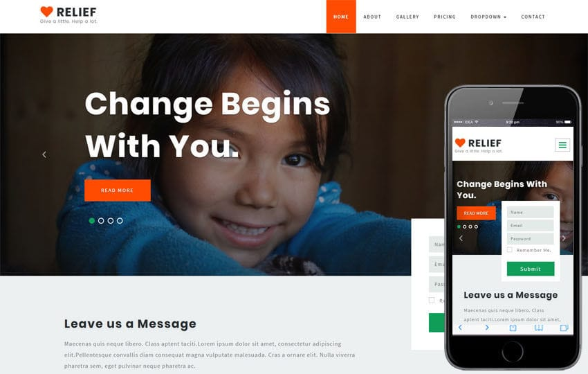 Relief Society and People Category Bootstrap Responsive Web Template Mobile website template Free