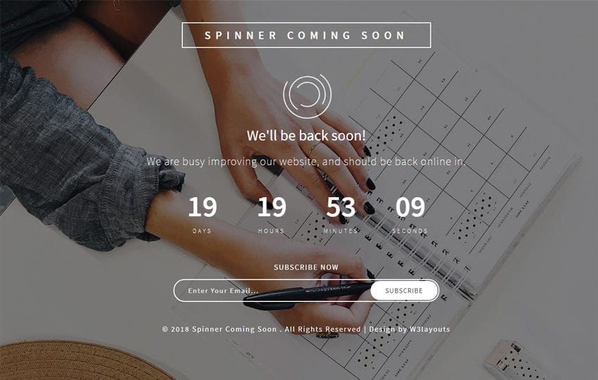 Spinner Coming Soon Flat Responsive Widget Template Mobile website template Free