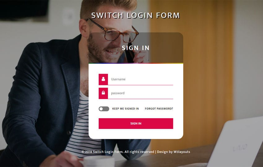 Switch Login Form Flat Responsive Widget Template