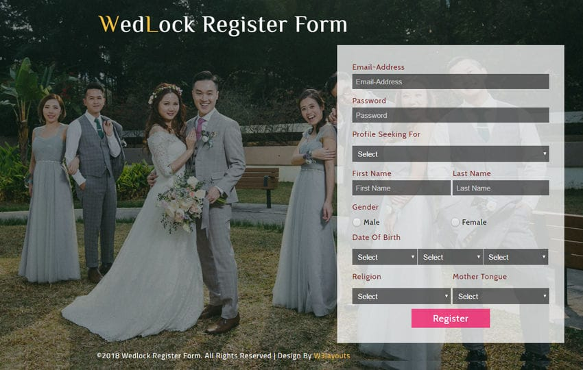 Wedlock Register Form Responsive Widget Template Mobile website template Free