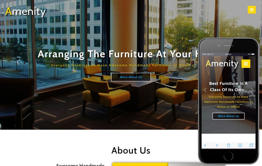 Amenity Interior Category Bootstrap Responsive Web Template Mobile website template Free