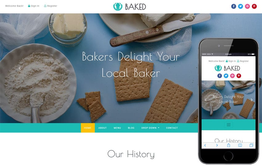 Baked Hotel Category Bootstrap Responsive Web Template Mobile website template Free