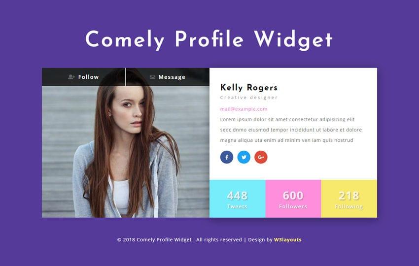 Comely Profile Widget Responsive Widget Template