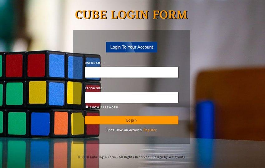 Cube Login Form Flat Responsive Widget Template