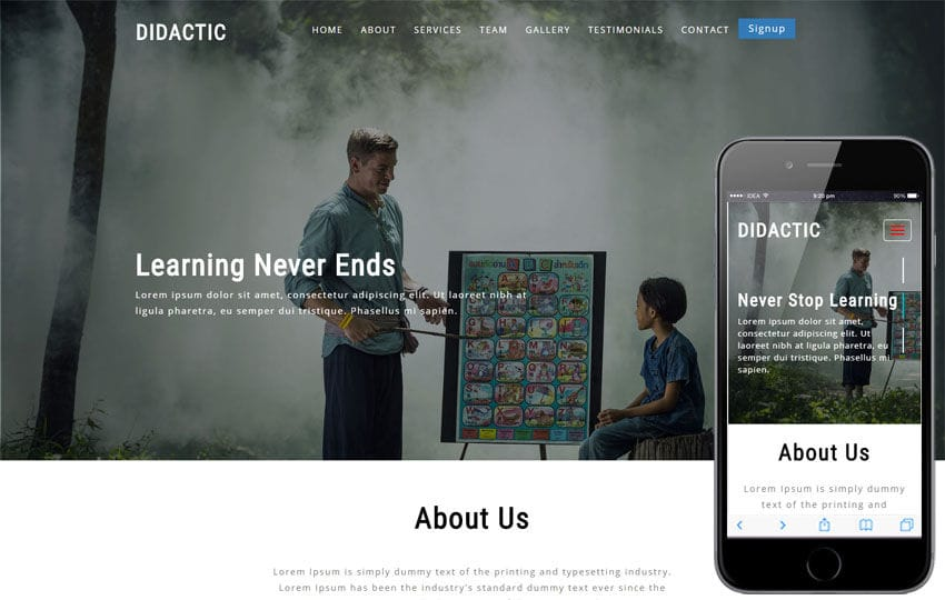 Didactic Educational Category Bootstrap Responsive Web Template Mobile website template Free