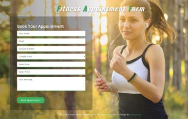 Fitness Appointment Form Responsive Widget Template