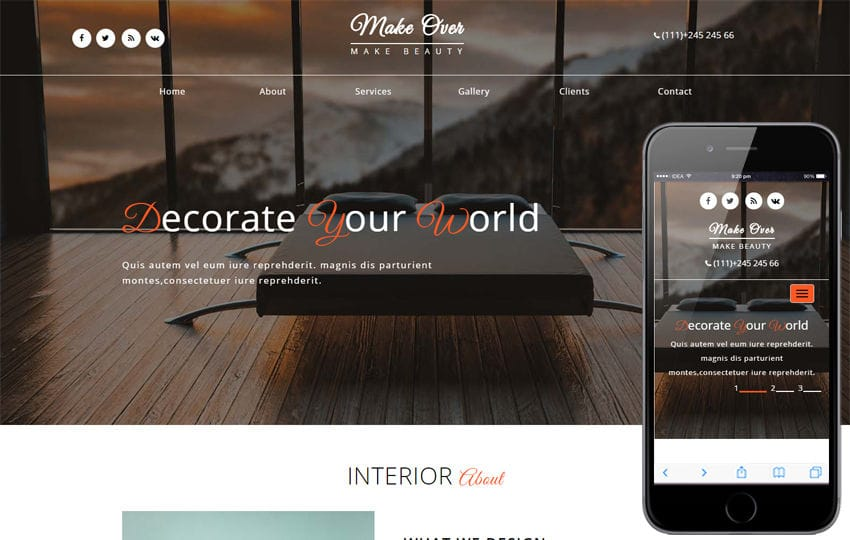 Make over Interior Category Bootstrap Responsive Web Template Mobile website template Free
