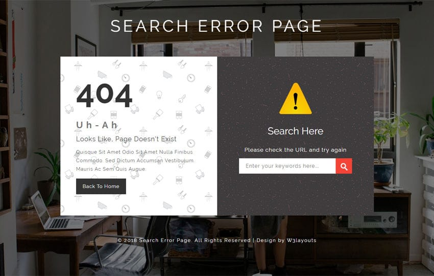 Search Error Page Flat Responsive Widget Template