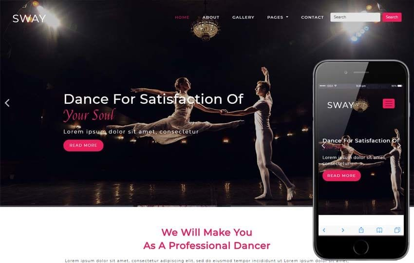 Sway Entertainment Category Bootstrap Responsive Web Template Mobile website template Free
