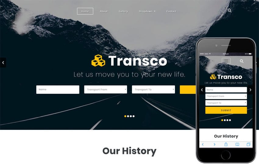 Transco a Transportation Category Bootstrap Responsive Web Template Mobile website template Free
