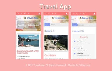 Travel App Flat Bootstrap Responsive Web Template