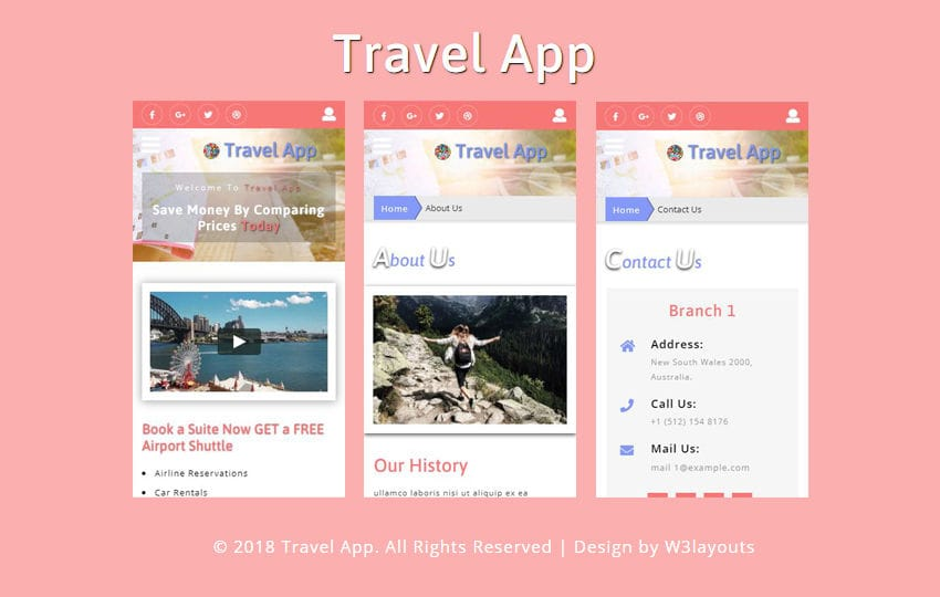 Travel App Flat Bootstrap Responsive Web Template Mobile website template Free