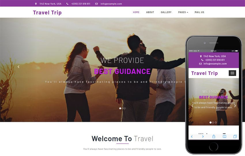 Travel Trip Travel Category Bootstrap Responsive Web Template Mobile website template Free