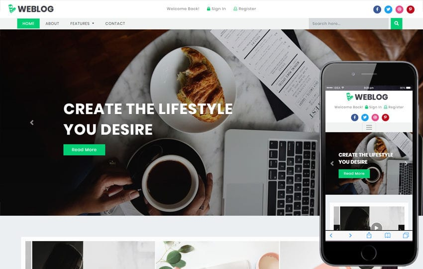 Weblog Blogging Category Bootstrap Responsive Web Template Mobile website template Free