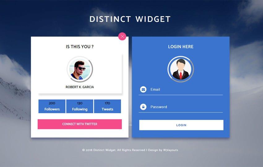 Distinct Widget Flat Responsive Widget Template