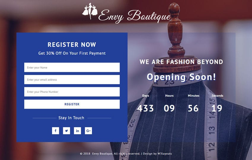 Envy Boutique Flat Responsive Widget Template
