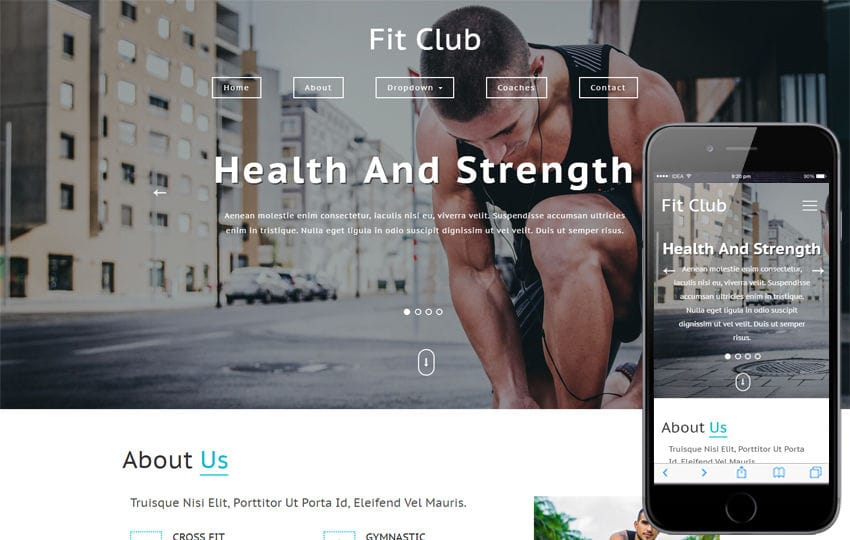 Fit Club Sports Category Bootstrap Responsive Web Template Mobile website template Free