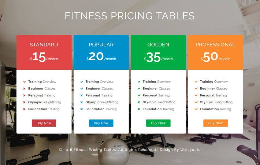 Fitness Pricing Tables Responsive Widget Template Mobile website template Free