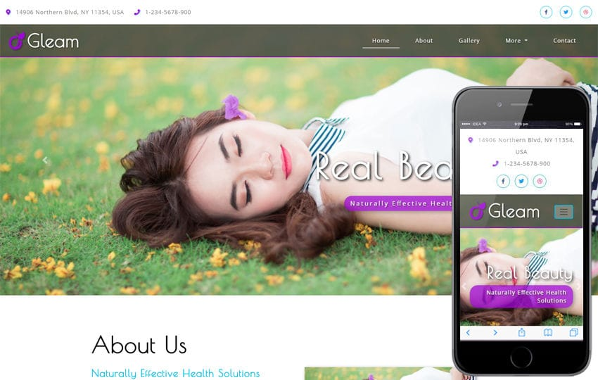 Gleam Beauty Category Bootstrap Responsive Web Template Mobile website template Free