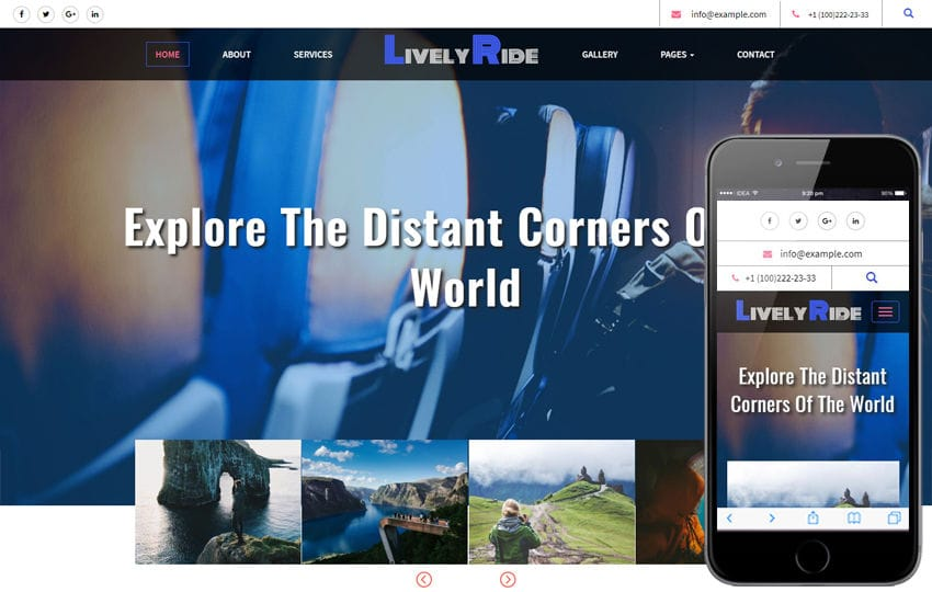 Lively Ride Travel Category Flat Bootstrap Responsive Web Template Mobile website template Free