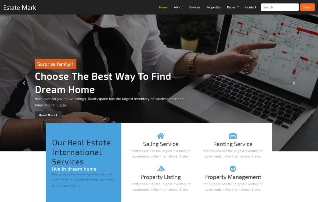 Estate Mark Real Estate Category Bootstrap Responsive Web Template Mobile website template Free