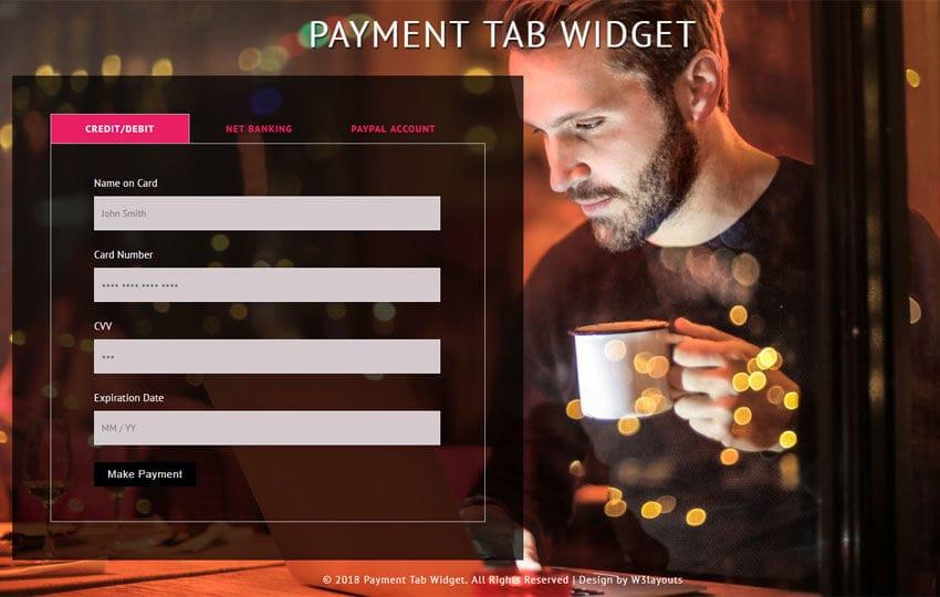 Payment Tab Widget Flat Responsive Widget Template