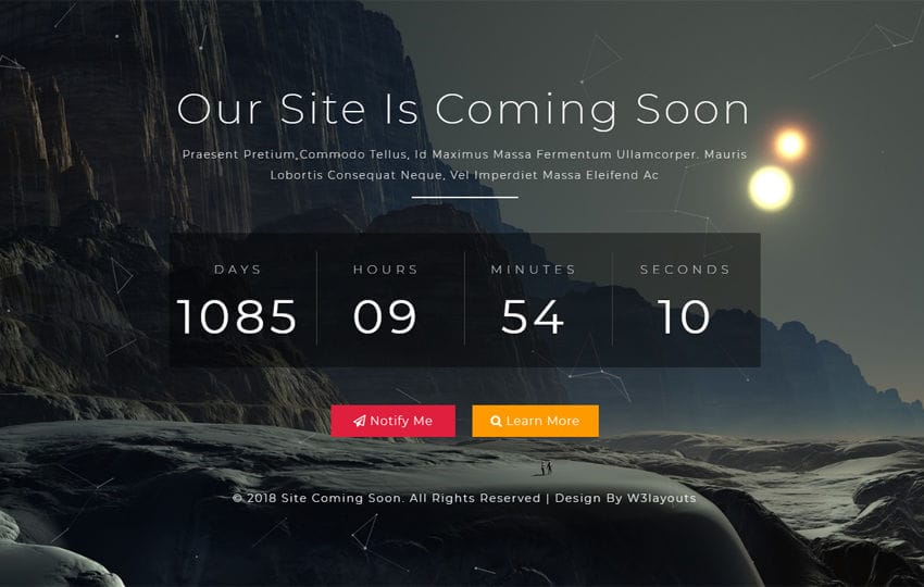 Site Coming Soon Flat Responsive Widget Template
