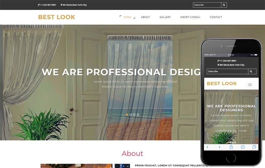 Best Look Interior Category Bootstrap Responsive Web Template Mobile website template Free