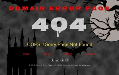 Domain Error Page Flat Responsive Widget Template