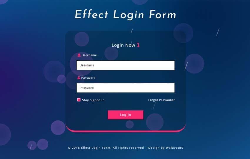 Effect Login Form Responsive Widget Template
