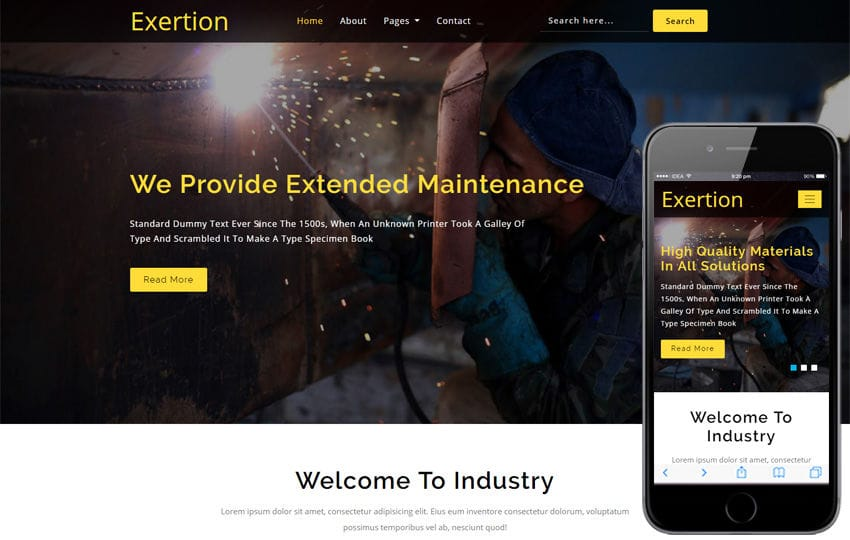 Exertion Industrial Category Bootstrap Responsive Web Template