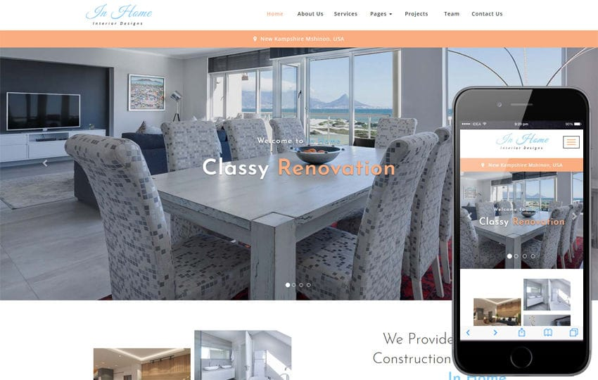In Home Interior Category Bootstrap Responsive Web Template