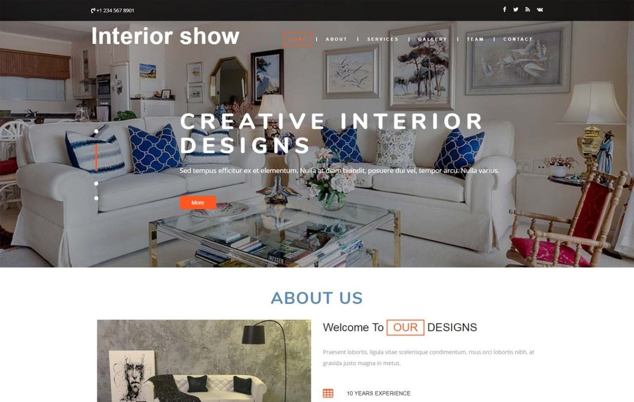 Interior Show Interior Category Bootstrap Responsive Web Template Mobile website template Free