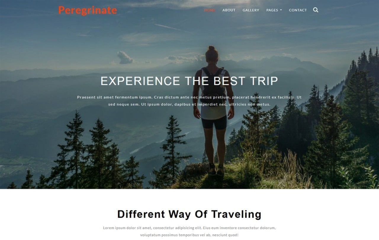 Peregrinate Travel Category Bootstrap Responsive Web Template Mobile website template Free