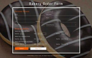 Bakery Order Form Flat Responsive Widget Template