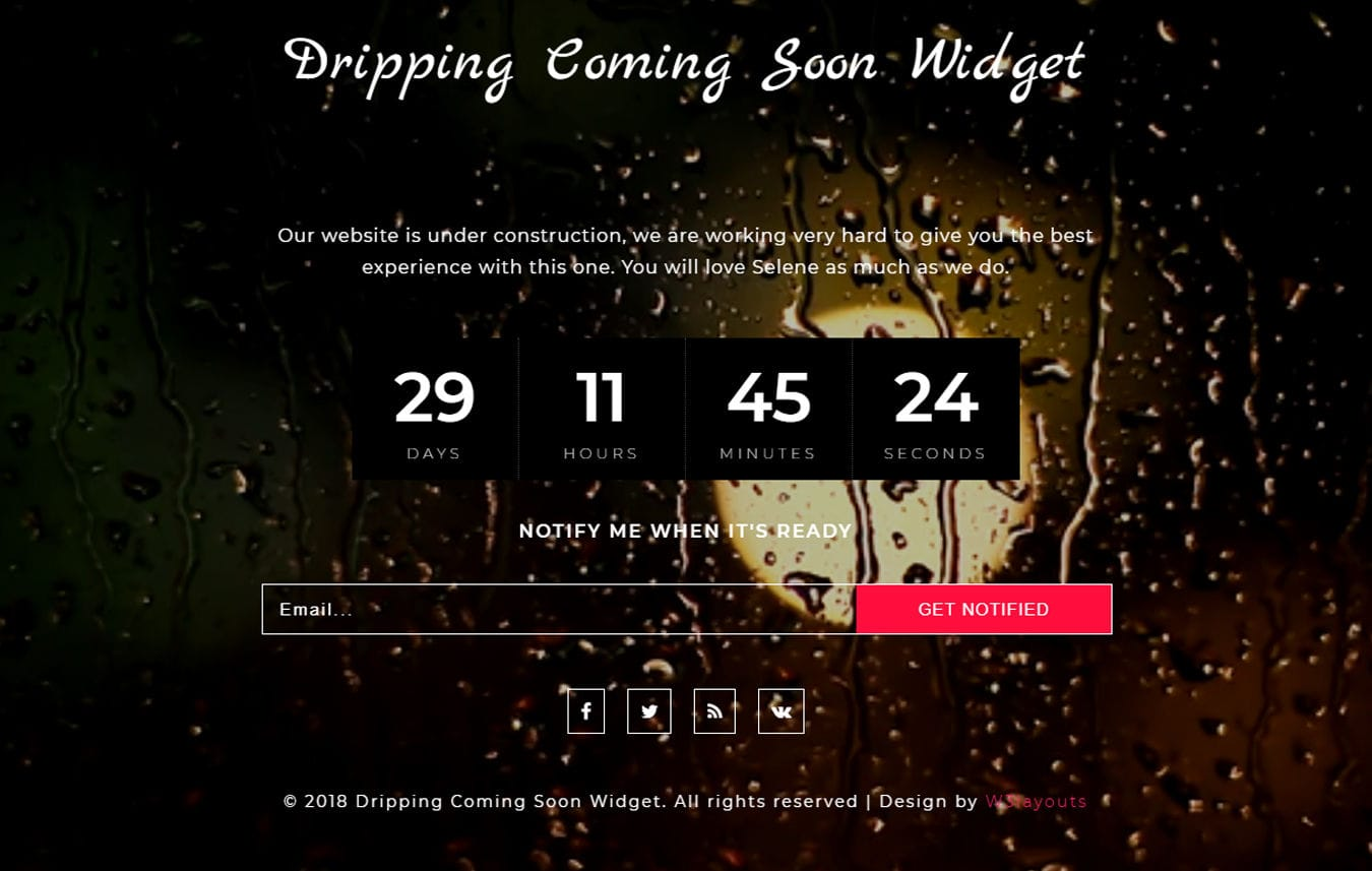 Dripping Coming Soon Flat Responsive Widget Template Mobile website template Free