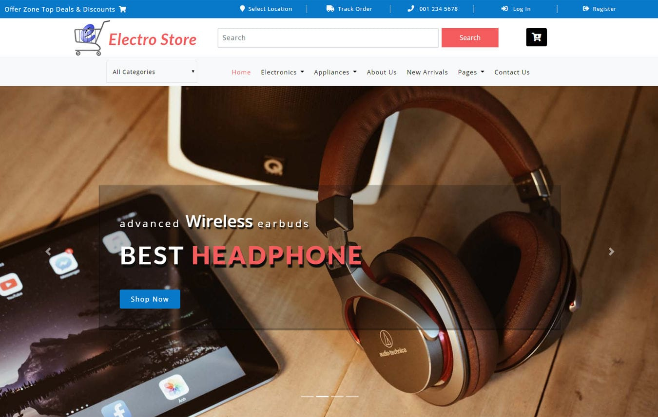 Electro Store an Ecommerce Theme Bootstrap Template Mobile website template Free