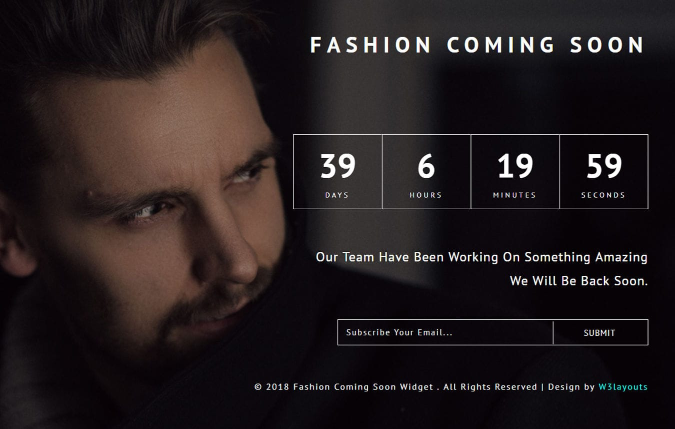 Fashion Coming Soon Flat Responsive Widget Template Mobile website template Free