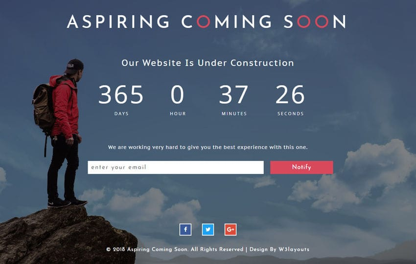 Aspiring Coming Soon Responsive Widget Template